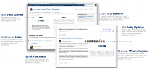 Screenshot of some of the new features in Confluence